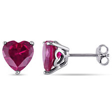 Amour Sterling Silver Created Ruby Solitaire Heart Earrings