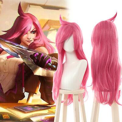 Game LOL Battle Academia Katarina Cosplay Wig Pink Long Women Hair Wig Halloween - Long Pink Halloween Wig