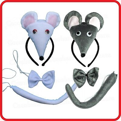 MOUSE RAT HEADBAND HAIRBAND WITH EARS+BOW TIE+TAIL- 3PC DRESS UP SET-COSTUME-2 - Rat Ears Costume