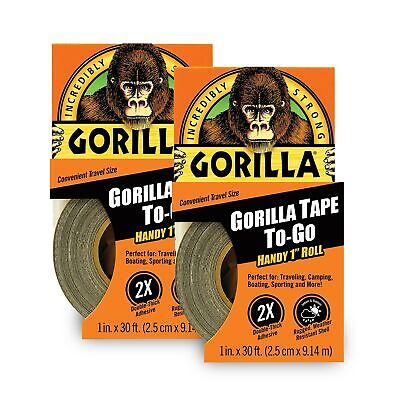 Gorilla Tape Mini Duct Tape To-go 1 X 10 Yd Travel Size Black Pack Of 2