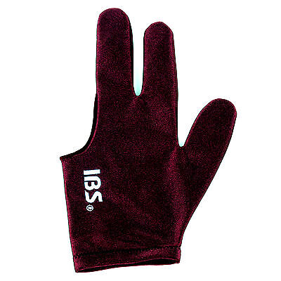 5ps [IBS] Billiard Three Fingers Glove Fits Both Men Women Wine Spandex Snooker