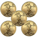 Lot of 5 Gold American Eagle 1/10oz Coins