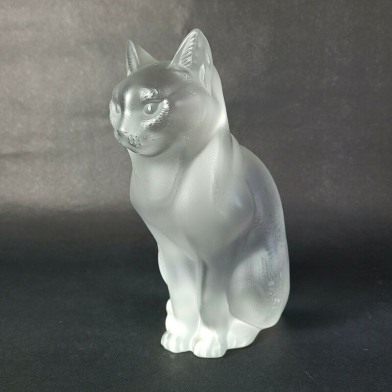 "Lalique France Chat Assis ""Sitting Cat"" Signed & Authentic"