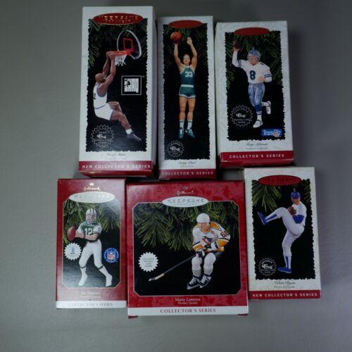 6 Hallmark Keepsake Ornament Figures Basketball Baseball Hockey Football Sports