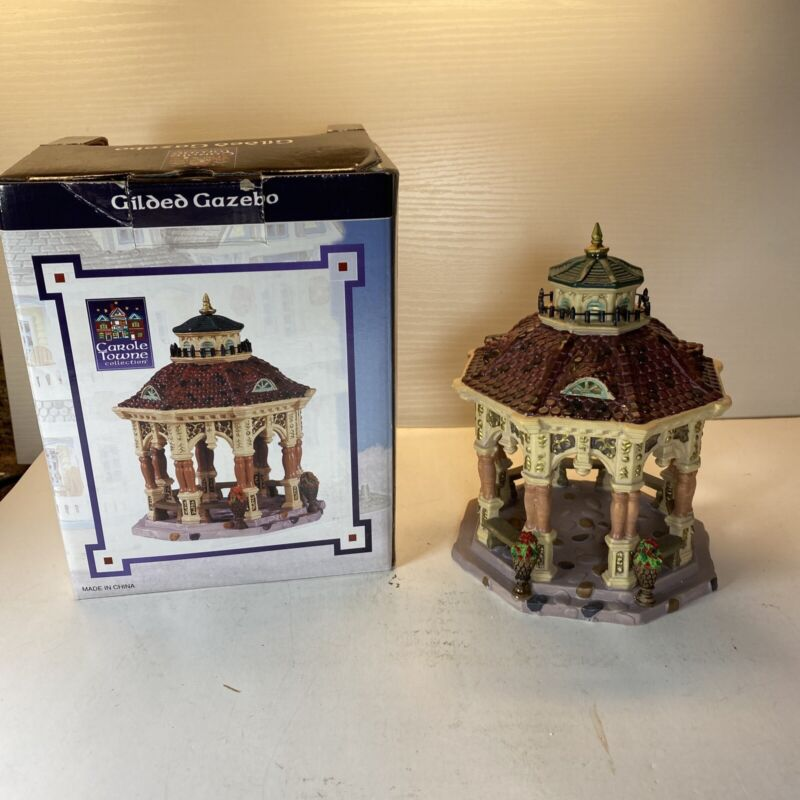 Vintage 2005 Lemax Village Collection Gilded Gazebo With Box