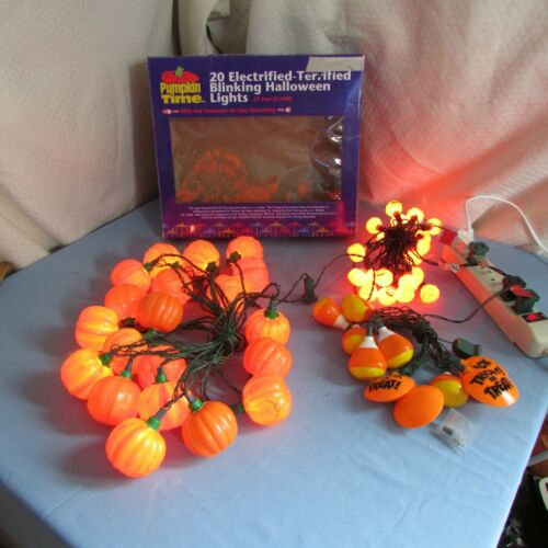 Vintage Halloween Pumpkin, Mini pumpkins, Candy corn Lights Blinking- 3 sets