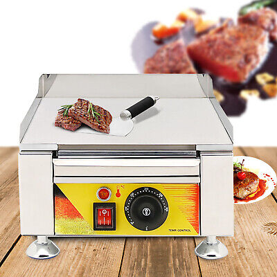 110v Stainless Steel Electric Thermostat Griddle Grill Bbq Plate Pan Commercial