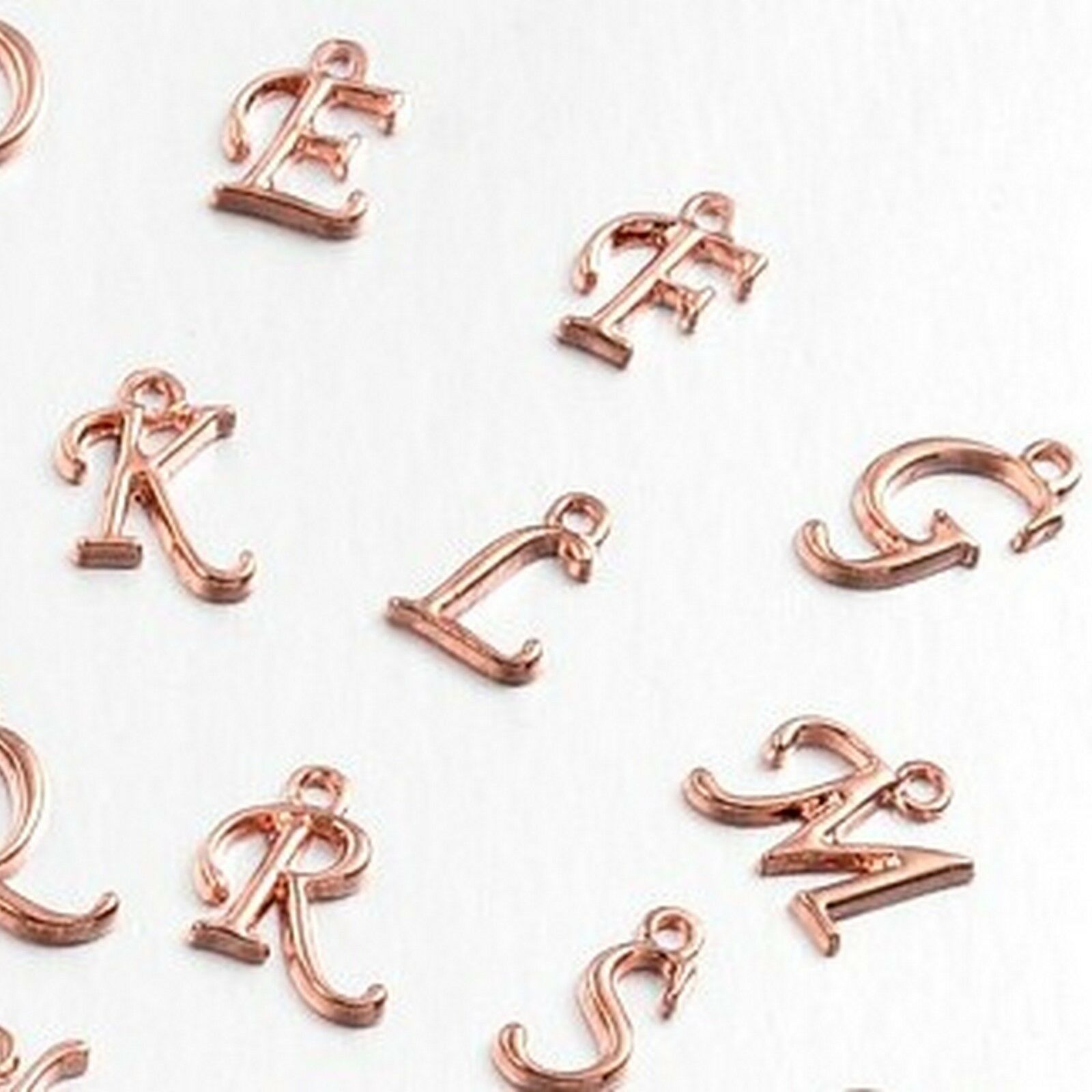 a-z Rose Gold Initial Letter Charm Pendant Cursive Initial gold plated Brass Alphabet necklace Initial Jewelry Findings Supplies ss1526-2