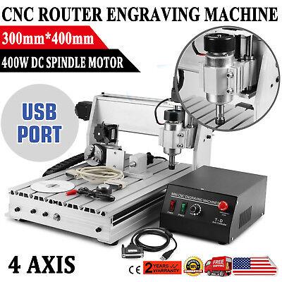 4 Axis Cnc Router Engraving Machine 3040 Engraver T-screw Desktop Wood Carving