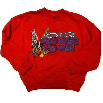 Girls Vintage United Colors of Benetton O12 Red Graphic Sweatshirt