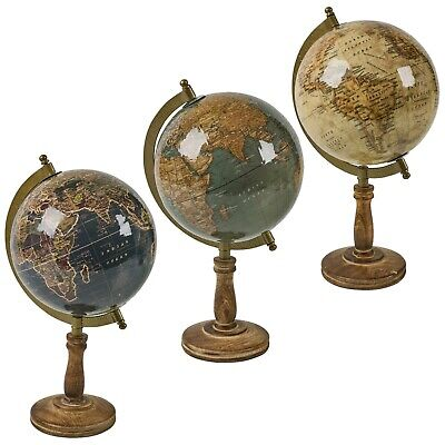 Nostalgic World Globe on Wooden Stand Classic Office Decor Old Fashion Style Map