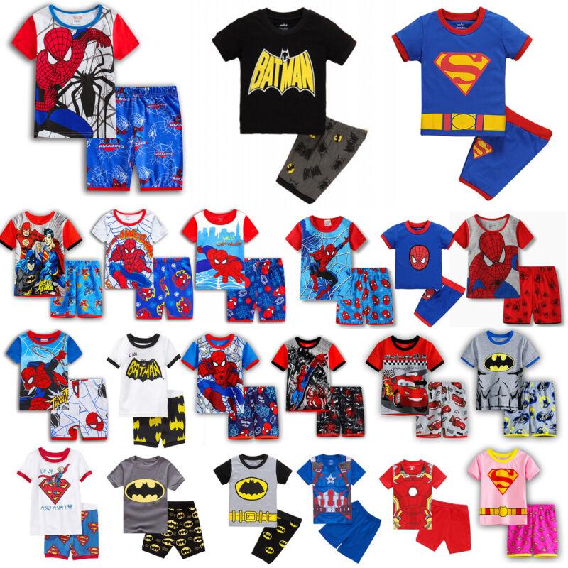 Kinder Schlafanzug Pyjama Nachtwäsche Schlafwäsche Pyjama Pj's Kurzarm Top Hose
