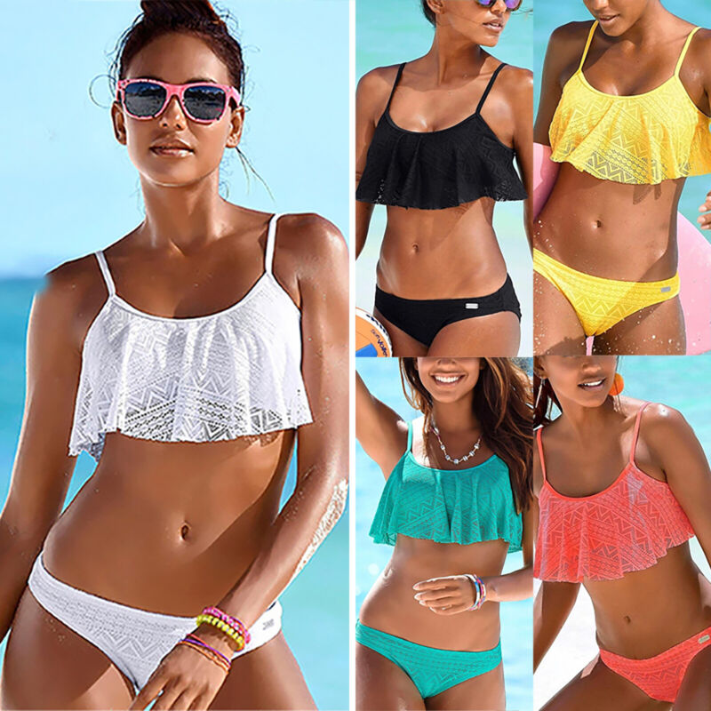 Damen Spitze Bikini Set Push Up Bademode Crop Top Tangas Badeanzug Schwimmanzug