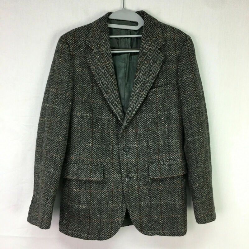 Vtg Barneys New York Charcoal Windowpane Pattern Sport Coat Blazer Youth Sz 17R