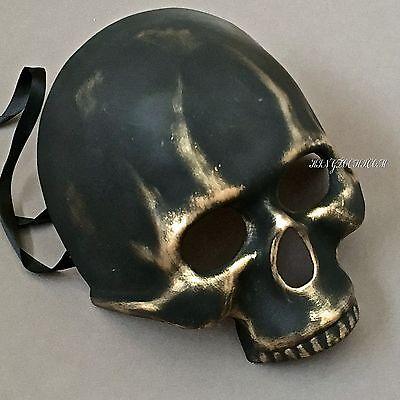 Skull Face Halloween Costume (Halloween Black Gold Skull Face Costume Masquerade)