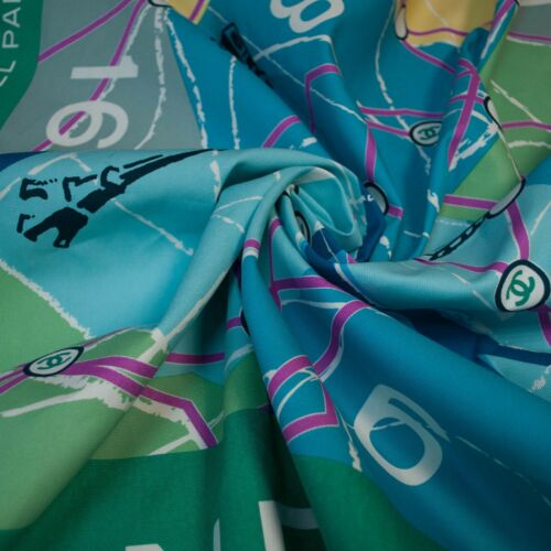 French top designer cotton  fabric. Map print Made in Italy 110 x 145 cm Defect