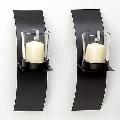- 2pc Set Black Metal Wall Sconce Candle Holder Wired Sconce Modern Minimalist Art