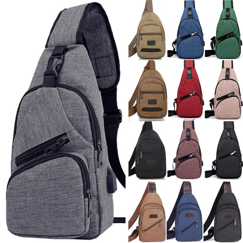 Men Women Canvas Crossbody Shoulder Chest Sling Bag Daily Tr