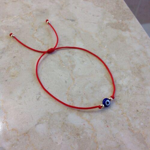 Evil Eye Red String Kabbalah Bracelet Gold14K Beads Good Luc