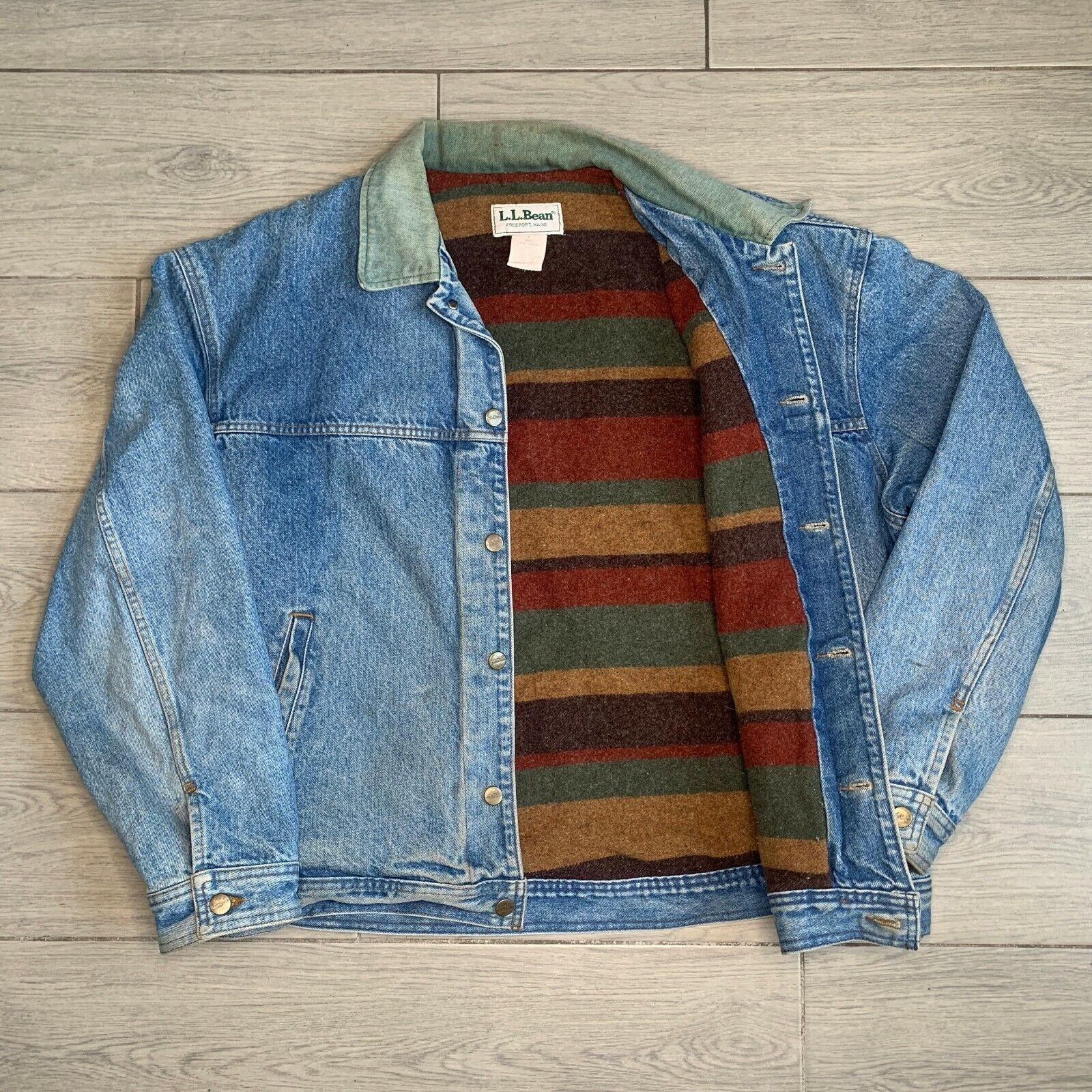 Vintage 1990s LL Bean Wool Blanket Lined Denim Jean Jacket X