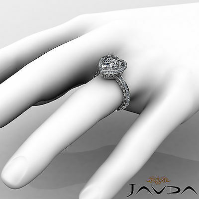 Floral Design Double Prong Halo Heart Cut Diamond Engagement Ring GIA I VS2 2Ct 3