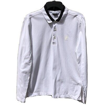 Versace Collection Medusa Men's White Cotton Polo Shirt Long Sleeves Size Med
