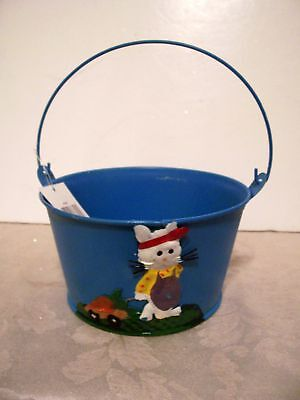 BLUE METAL EASTER BUNNY BUCKET CARROT DECORATION SPRING - Metal Easter Buckets