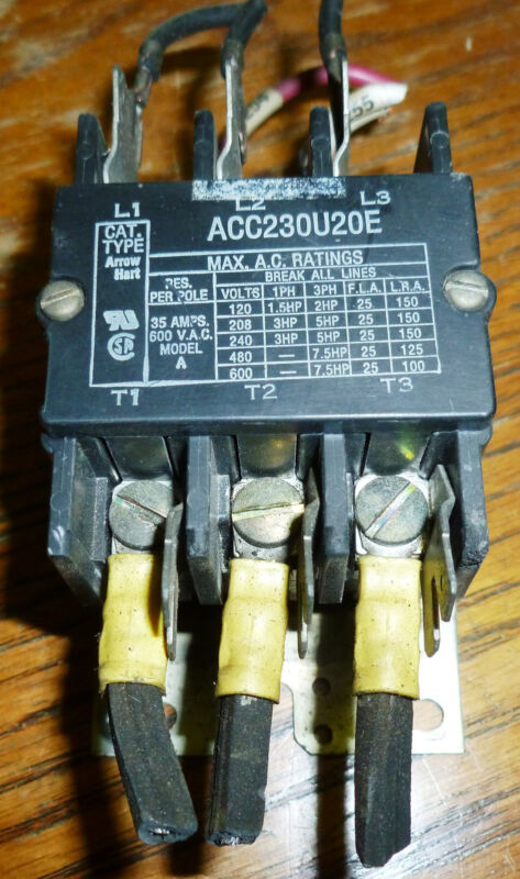 Arrow Hart ACC230U20E 3 Pole Contactor Used Take-out