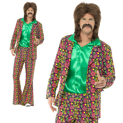 60s Psychedelic CND Suit Costume Hippy Hippie Adult Mens Fancy Dress Outfit](60s Outfit Men)