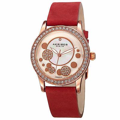 Women's Akribos XXIV AK843RD Crystal Bezel Diamond Dial Quartz Suede Strap Watch