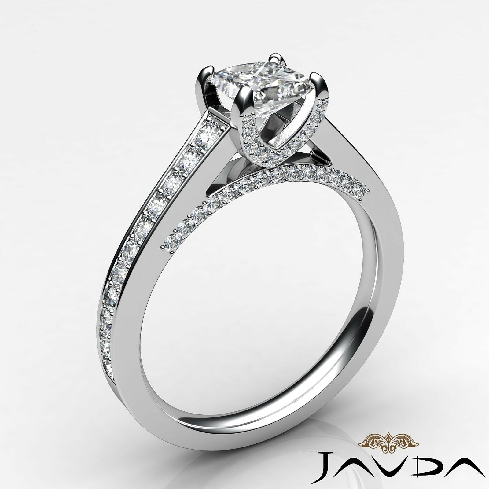 1.46ctw Tapered Pave Princess Diamond Engagement Ring GIA G-VS2 White Gold Rings 1