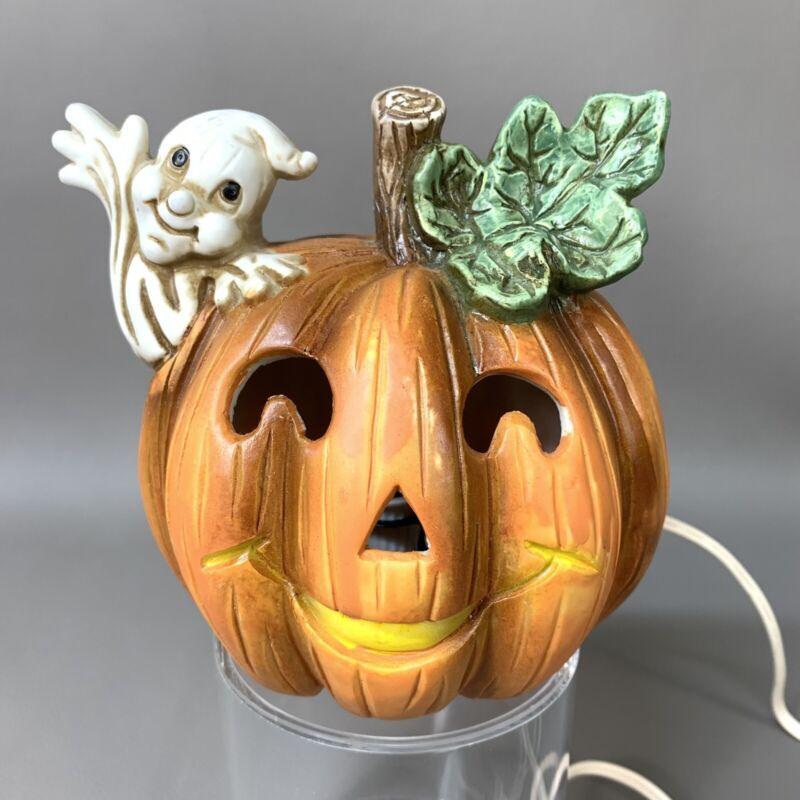 Brinns Ceramics Taiwan Light Lamp Jack-O-Lantern Ghost WORKS Vintage Halloween