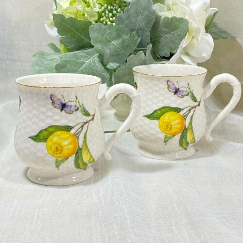 Grace Fine Porcelain LEMONS BUTTERFLIES BEES Coffee Mugs Set of 4 New