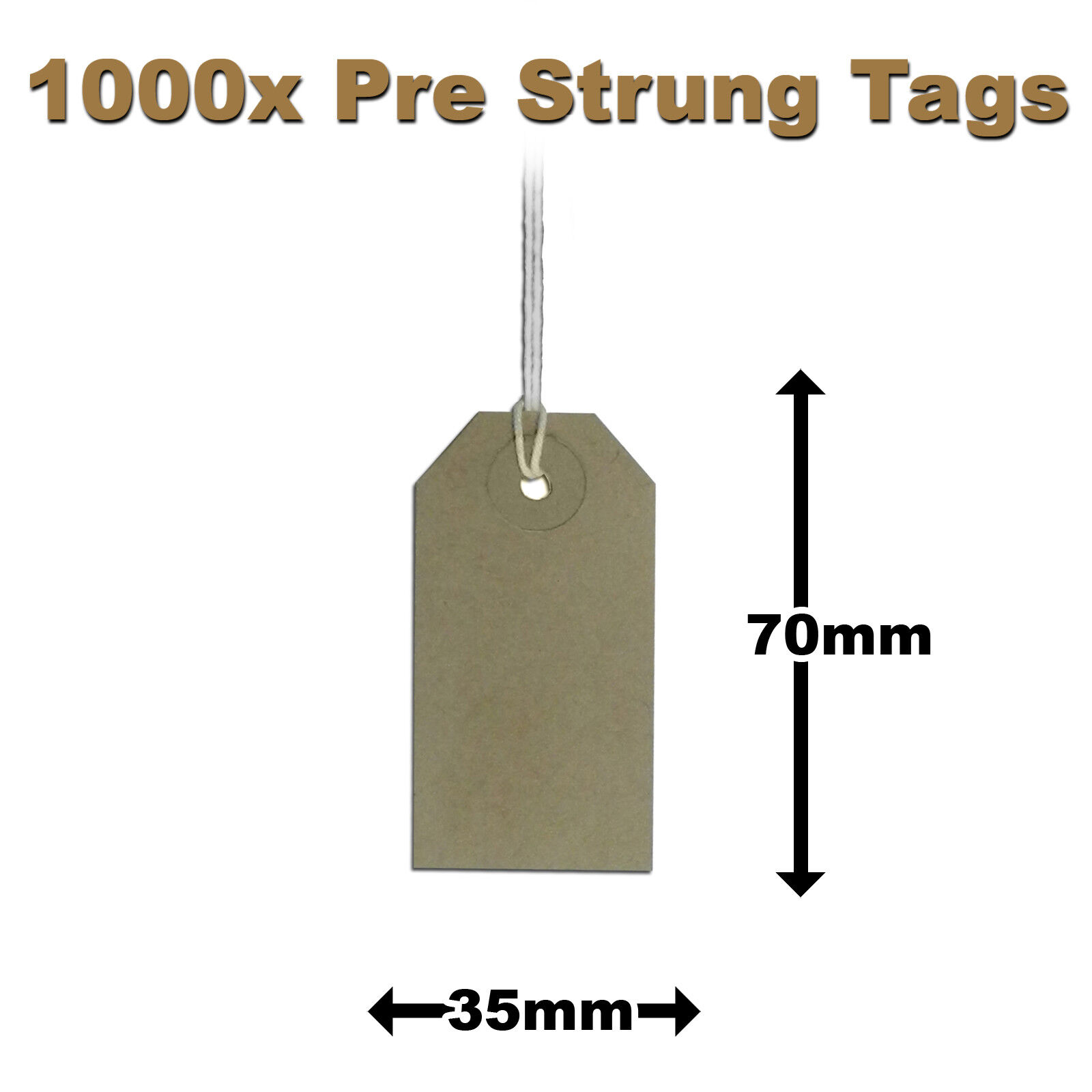 Pre-Strung Brown/Manilla/Buff Price Tags Tickets 70mm x 35mm 1MS x 1000 (H3)