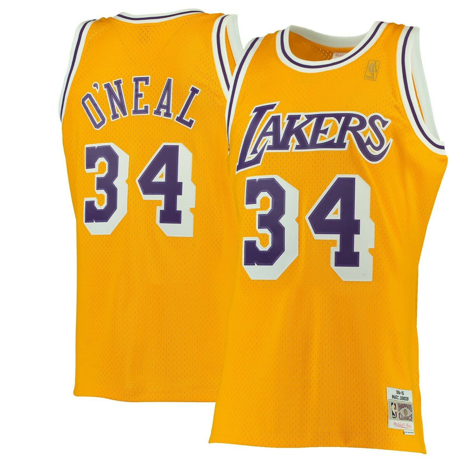 d5a29293d Shaquille O neal  34 Los Angeles Lakers Mitchell Ness NBA Swingman Jersey  Yellow