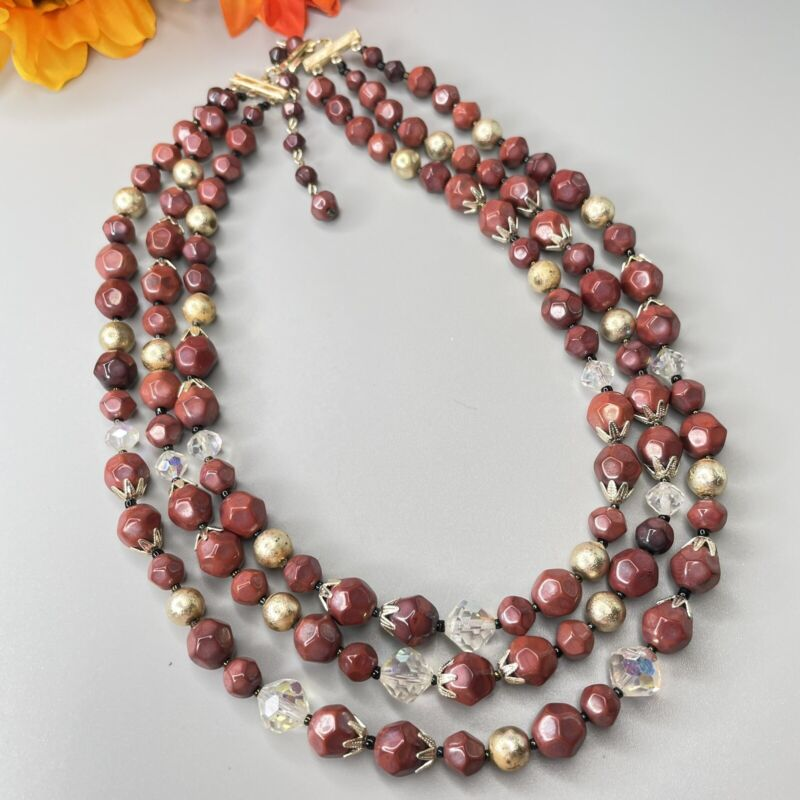 Vintage 3 Strand Brick Red Maroon & Clear Bead Beaded Necklace Signed Japan