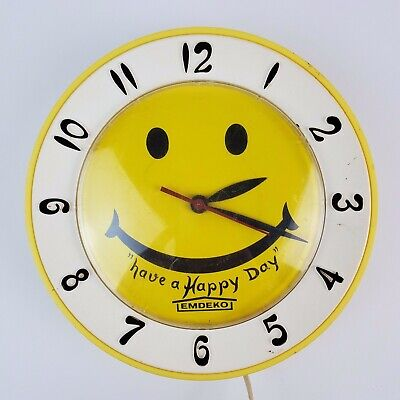 Vintage Lux Emdeko Have a Happy Day! Smiley Face Wall Clock Parts / Not working