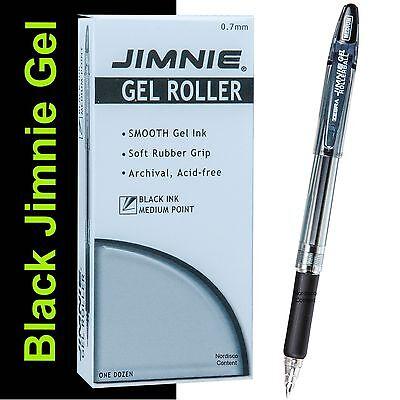- Box of 12, Zebra Jimnie Gel Rollerball Pens 44110, 0.7mm Medium Pt., Black Ink