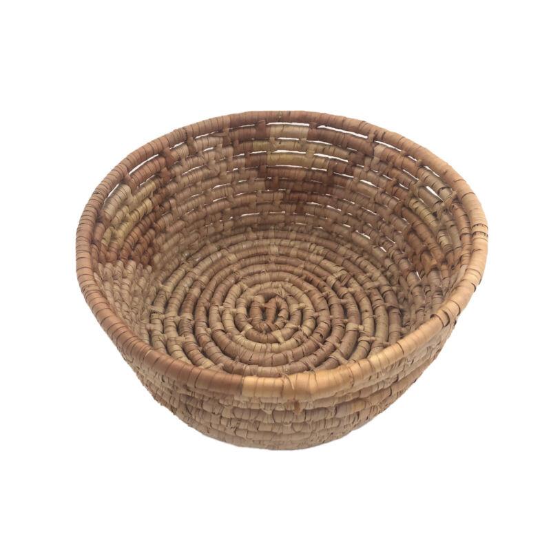 "Vintage Handmade Coil Basket Planter Multi Color Rustic and Primitive Round 8"""