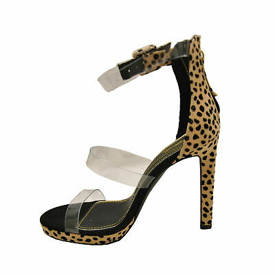 - Qupid CHICAGO-43 Tan Black Leopard Women's PVC Straps Platform Open Toe Heels