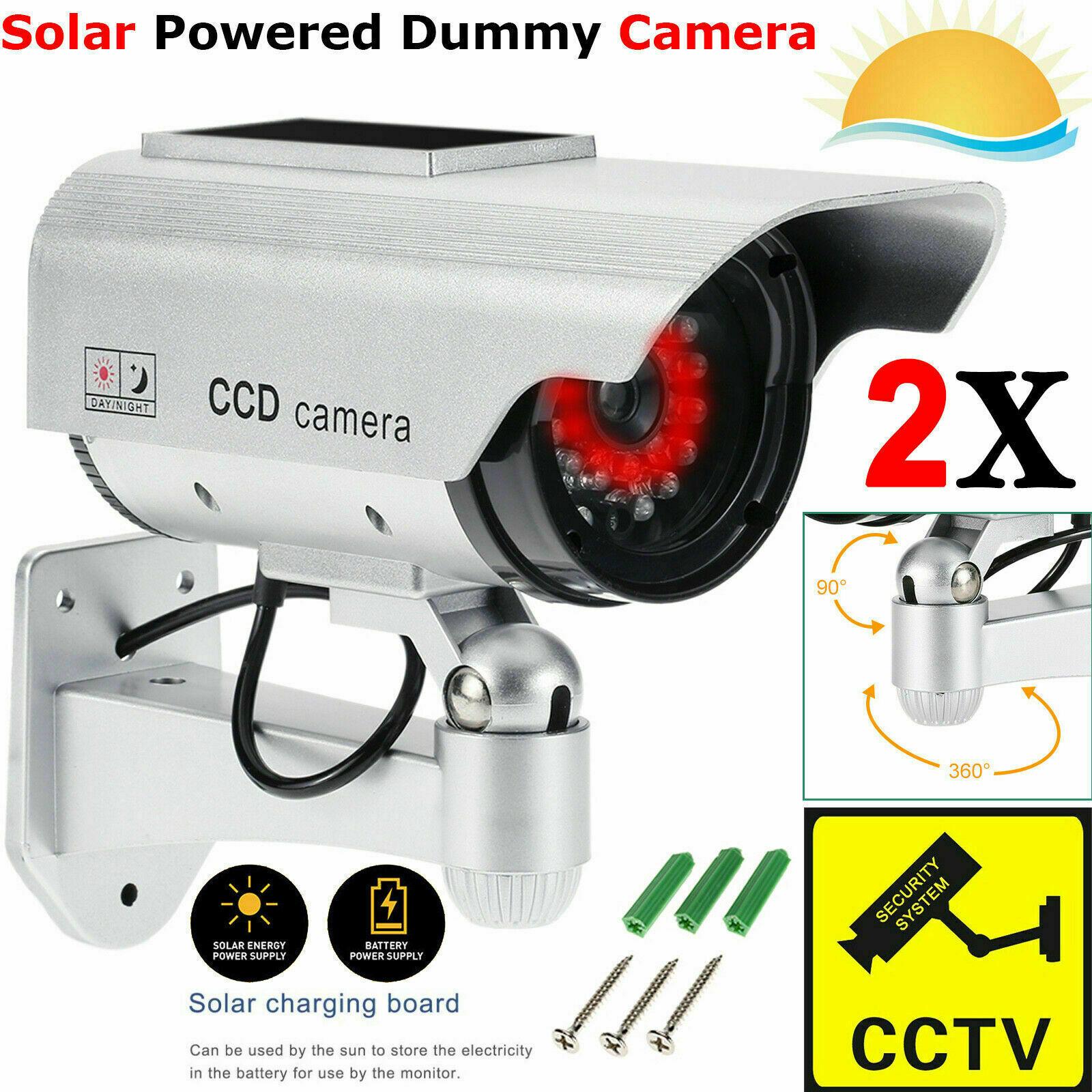 4 Pack Dummy Surveillance Security Camera CCTV W// LED Record Light
