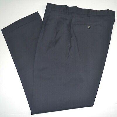 INCOTEX Super 100's Wool Navy Pleated Dress Pants Sz 36 x 32