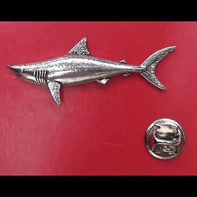 English Pewter MAKO SHARK Pin Badge Tie Pin / Lapel Badge