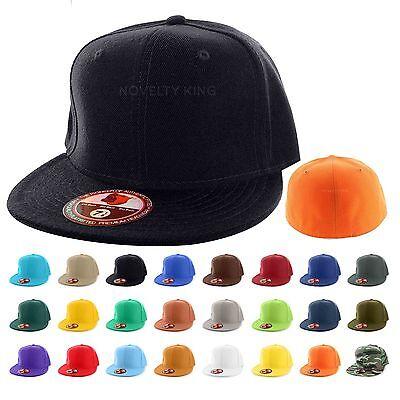 Flat Bill Baseball - Plain Fitted Flat Bill Cap Visor Baseball Basic New Blank Solid Hat Sport Colors