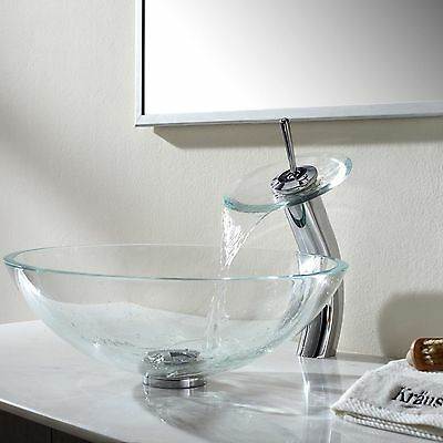 Round Clear Glass Bathroom Vessel Sink & Chrome Waterfall Faucet & Drain Combo
