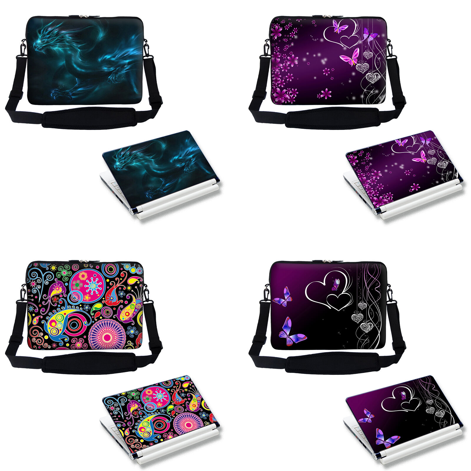 Colorful Design Laptop Notebook Sleeve Bag & Matching Skin S