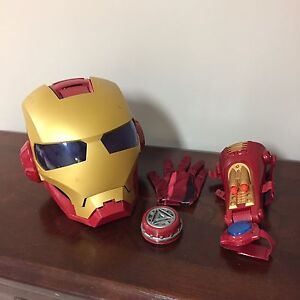 Iron man helmet,  glove, wrist repulsor and chest light