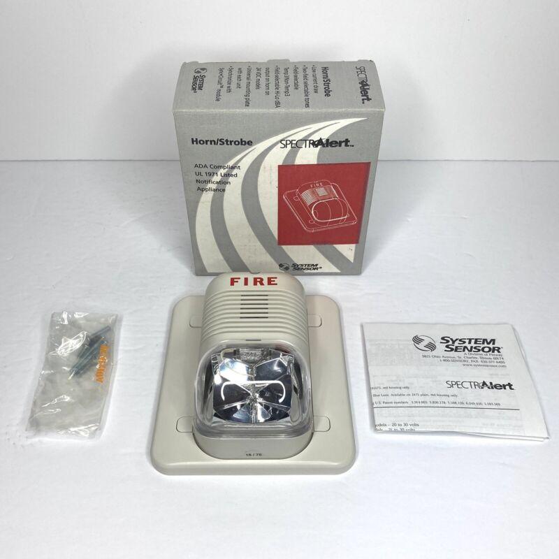 System Sensor SpectrAlert Horn/Strobe P241575W White - NEW OPEN BOX