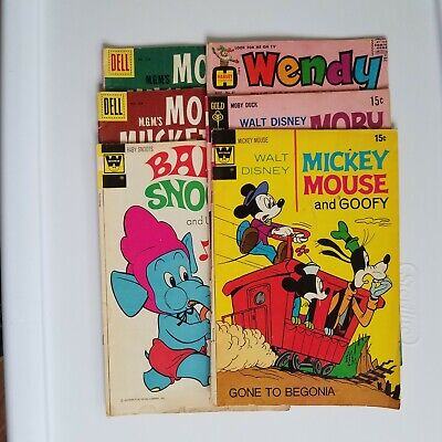 Silver Age Dell Lot of 6 Mouse Musketeers Baby Snoots Wendy Mickey Moby Duck LQ Mickey Mouse Musketeers
