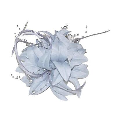 Gris Plata Flor Y Pluma Tocado Con / Perlas Broche Y Broche...